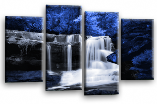Forest Waterfall Canvas Wall Art Picture Print Blue Black Grey